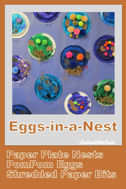 eggs in nests children's art, painting, bulletin board for spring, kindergarten, Head Start art