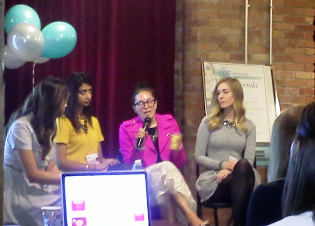Panelists talking about  Blogging, Branding, and Social Media at Spark Sessions, Canada's First and only fashion and beauty blogger conference in Toronto. Panelists,organizers and moderators are: Anum Kahn, Sheryl Bagga, Crystal Sales, Nicole Wilson