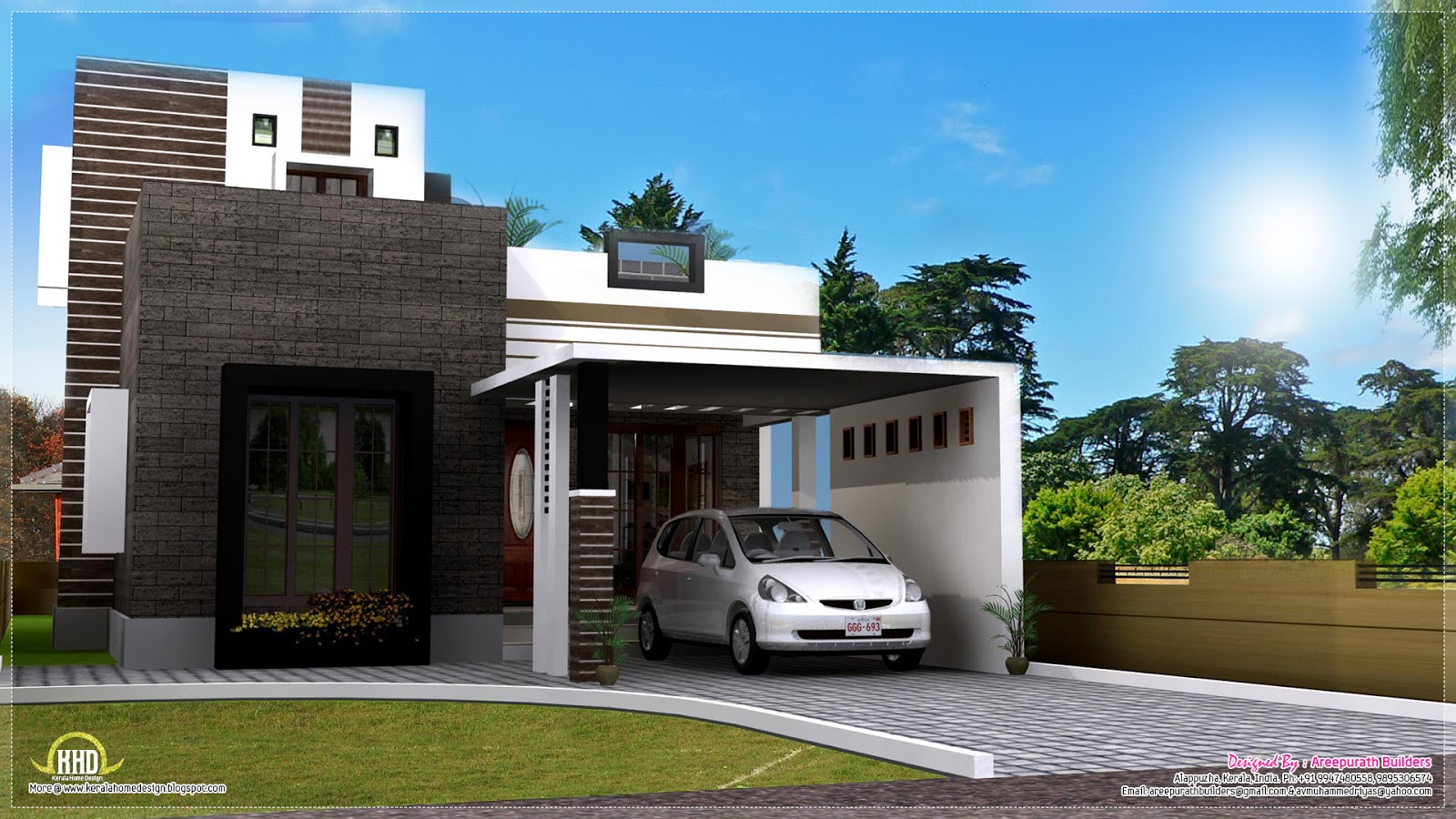 1200 square feet contemporary home exterior kerala home for Indian home exterior designs