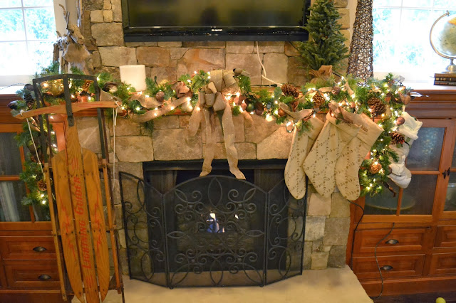 christmas-garland-mantle, garland-mantel, natural-christmas-decorating, burlap-bow-christmas
