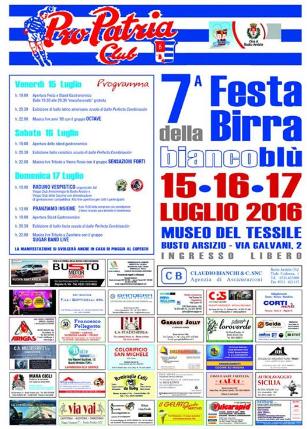 15-16-17 LUGLIO FESTA DELLA BIRRA 2016