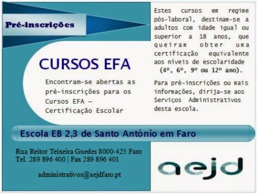 Cursos efa com certificação escolar em Faro (horário pós-laboral)
