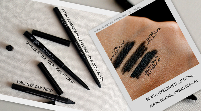 Chanel Style Yeux Long Lasting Black Eyeliner Noir Intense Dupes Urban Decay Perversion Avon Glimmersticks Blackest Black