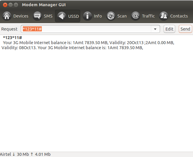 Modem Manager GUI - USSD Codes