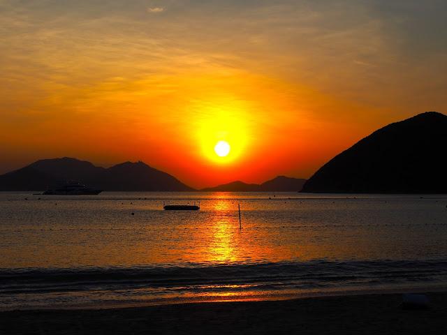Sunset over the ocean on Repulse Bay Beach, Hong Kong