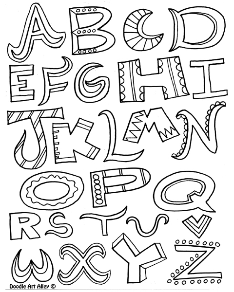 Alphabet Coloring Pages With Pictures : Free doodle letters coloring pages