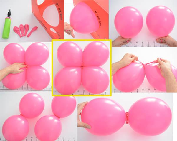 5 enlaza los 2 duplets por la parte de sus nudos y giralos entre ellos para que formen un solo elemento de 4 globos dicha composicin de 4 globos es el - Como Hacer Flores Con Globos