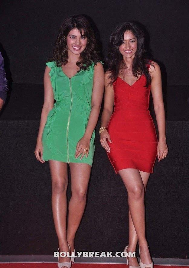 We love the legs on both these ladies - (6) - Priyanka Chopra & Ileana D'cruz @ launch of theatrical trailer of Barfi