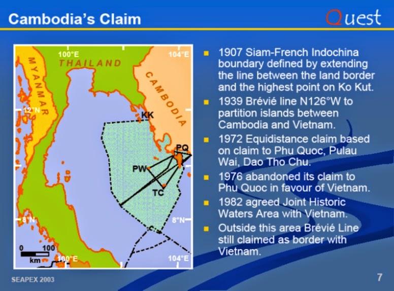 Ansprüche von Kambodscha Golf von Thailand