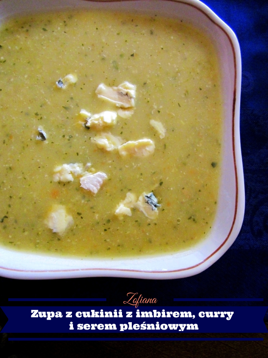 zucchini, ginger, curry blue cheese soup