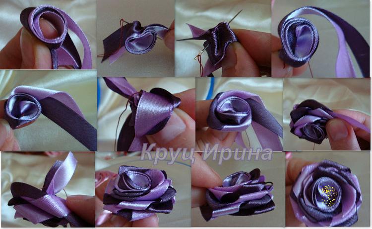 Видео розы из атласной ленты своими руками мастер класс