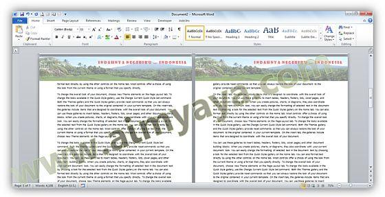 Gambar: Contoh preview dokumen dengan header bergambar pemandangan alam