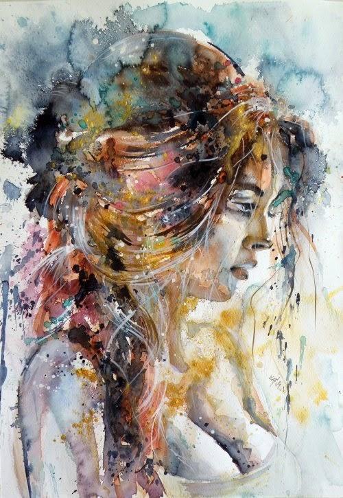 Anna Brigitta Kovács deviantart pinturas aquarelas mulheres cores