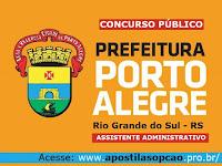 apostila concurso Prefeitura de Porto Alegre, Assistente Administrativo Grátis CD com Testes.