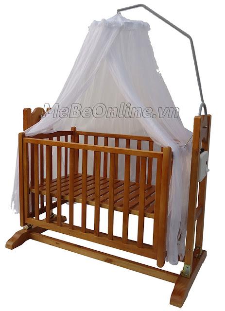 Nôi gỗ cho bé Vinanoi Vnn301M làm nôi giường cũi võng tự động.