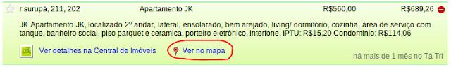 """Link """"Ver no Mapa"""" no detalhe da busca do Tá Tri Imóveis"""