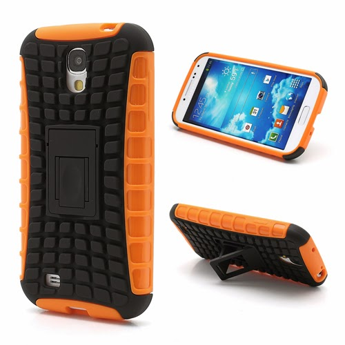 Tough Rugged TPU & PC Stand Hybrid Case for Samsung Galaxy S IV S4 i9500 i9502 i9505 - Black / Orange