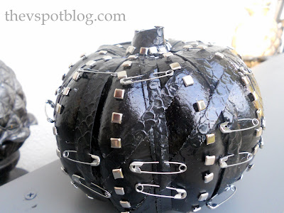 pumpkin, punk, black, leather, safety pins, studs, Halloween