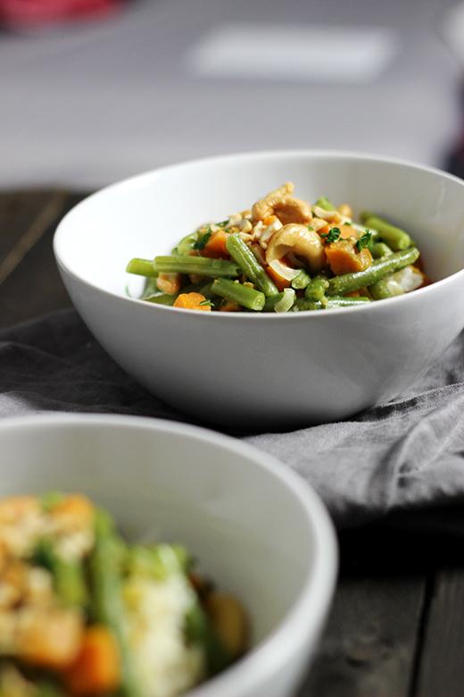 Rezept für Grüne Bohnen-Curry mit Süßkartoffel und Cashewkernen, Holunderweg18