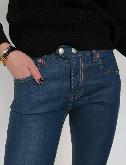 Double Snap-On Button Skinny Jeans