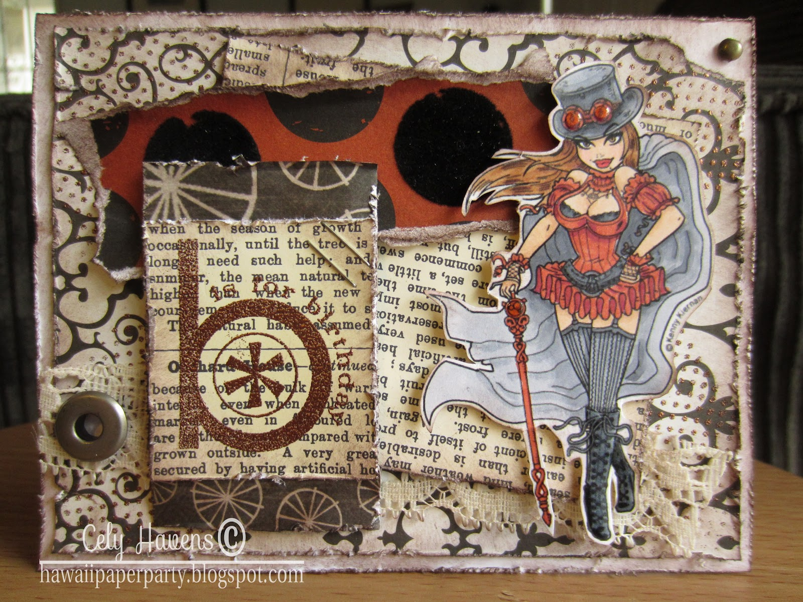 Hawaii Paper Party Steampunk Birthday Card