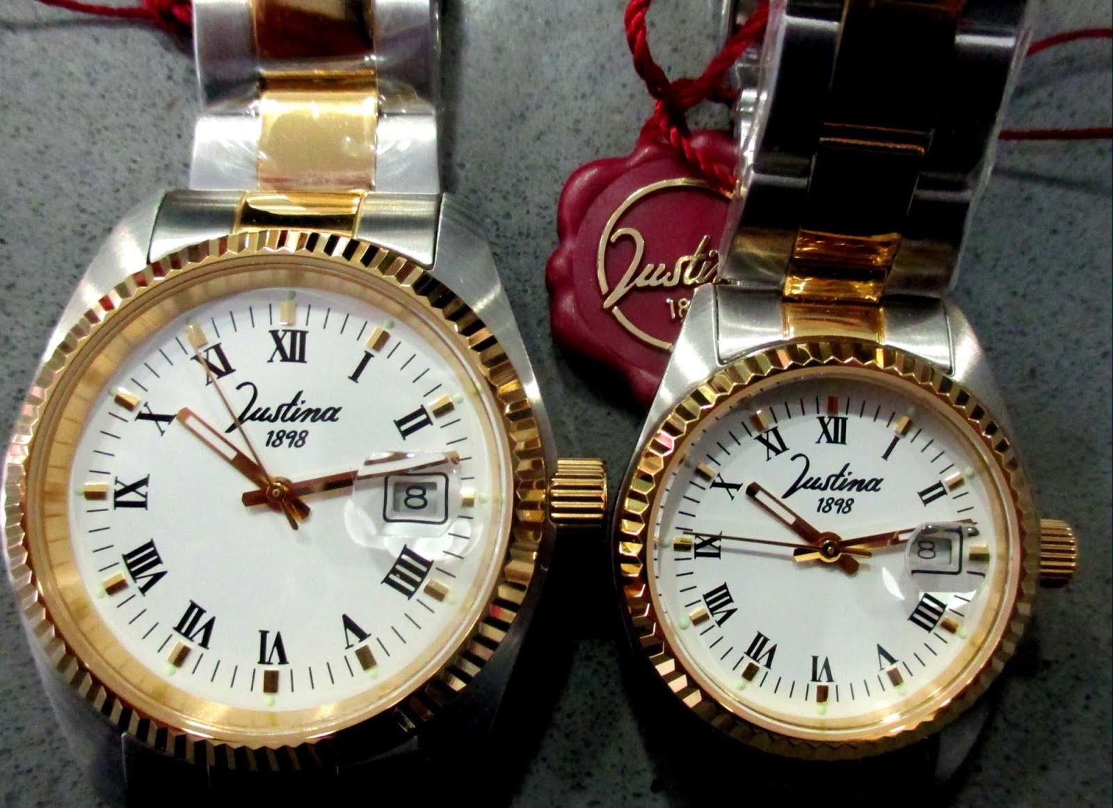 Relojes Justina, pulsera de acero bicolor, bisel dorado, calendario con lupa, cerrado a rosca