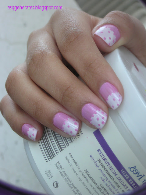 Half Moon Polka Dot Manicure -different angle picture