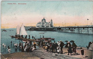 Vintage postcard of the Central Pier, Morecombe, Lancashire, c.1905