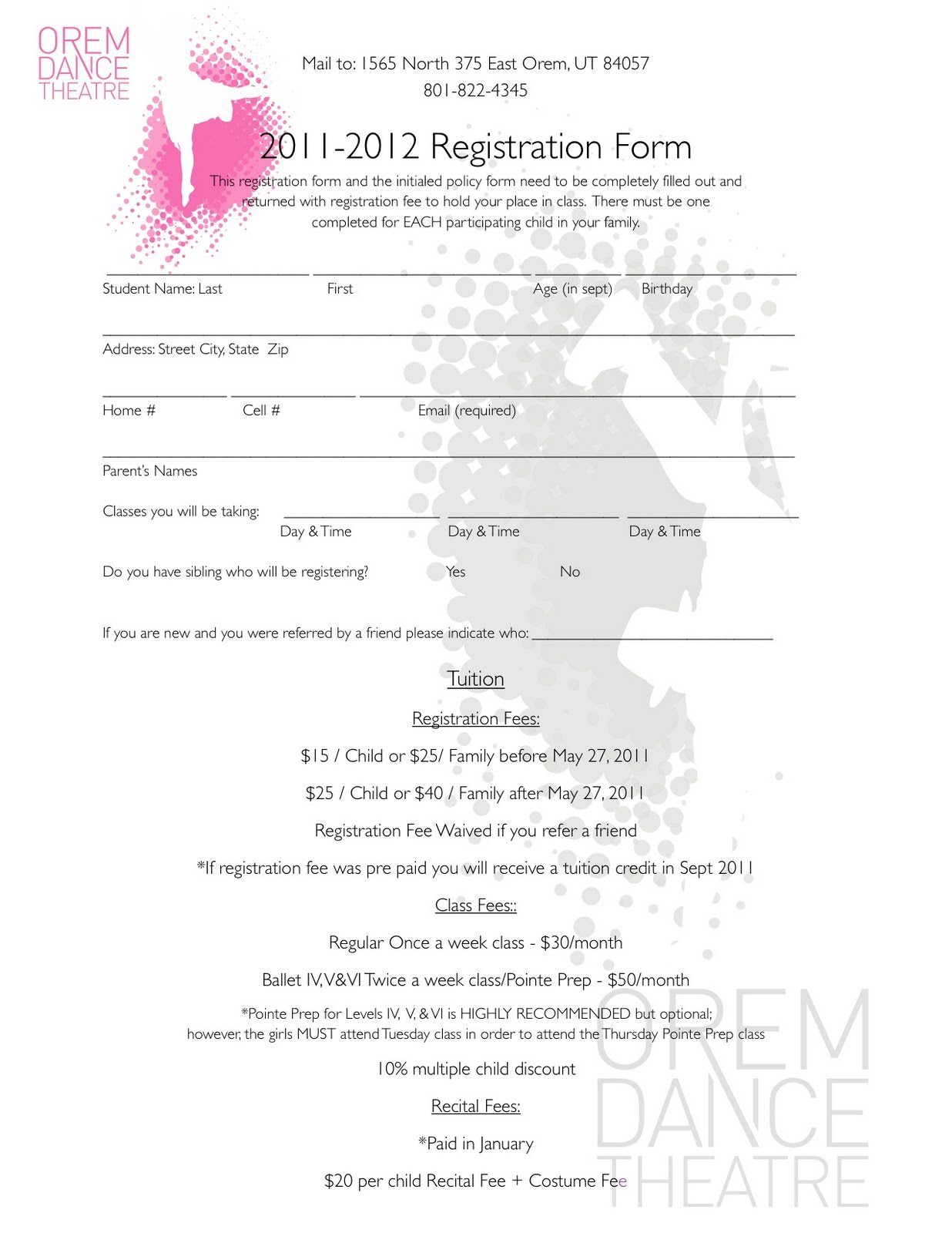 Official Fall Schedule and Registration Form!!! – Smash Dance Academy