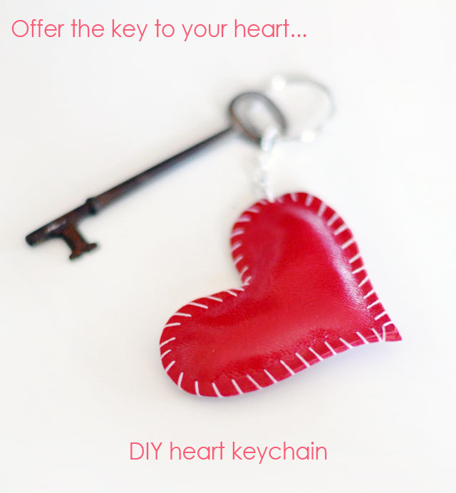 DIY leather heart keychain