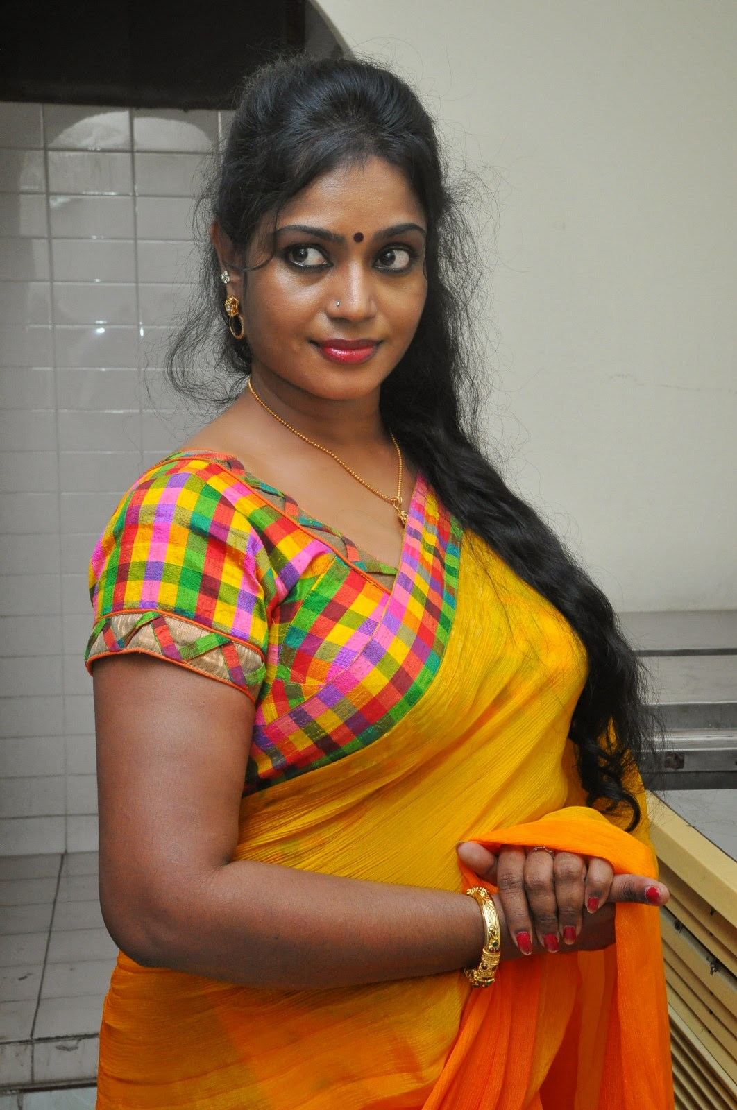 Jayavani glam pics in saree-HQ-Photo-16