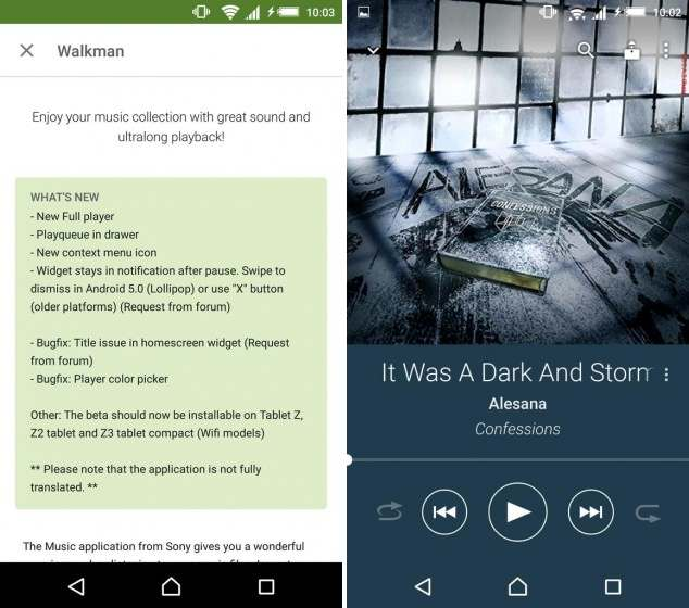 Aplikasi walkman music player via google play