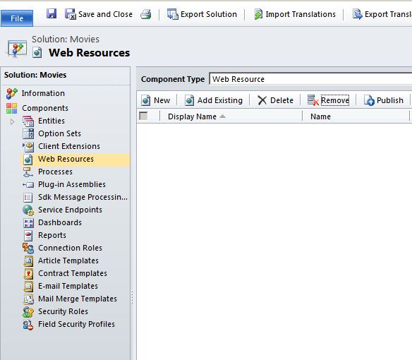 &quot;Web Resource&quot; component inside the Solution
