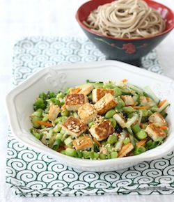 pan-fried tofu and edamame salad with wasabi dressing recipe