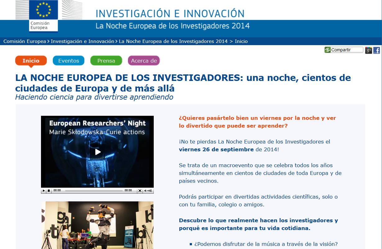http://ec.europa.eu/research/researchersnight/index_es.htm