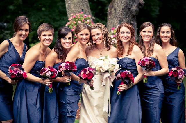 jewel tone bouquets navy dresses