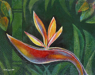 lotus blossom painting acrylic wood BIRD OF PARADISE IN PARADISE,  Copyright Hemu Aggarwal, 2015