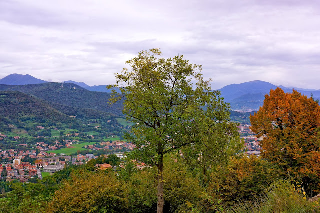 Image of trees and mountains near Bergamo, Italy.