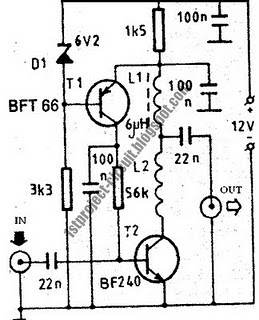 vhf antenna amplifier circuit using bft66 transistor