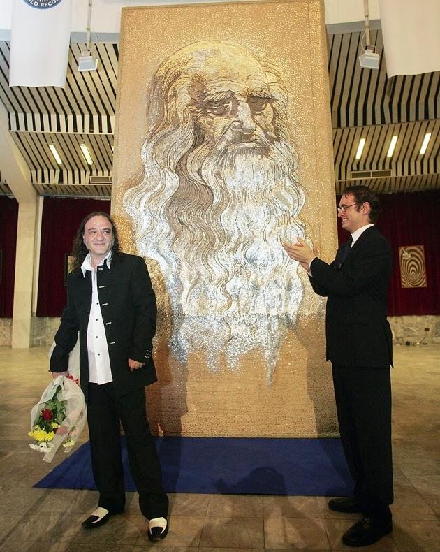 Saimir Strati, artista del mosaico, 7 récords mundiales guinness, Leonardo Da Vinci