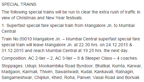 Christmas 2015 New Year 2016 Special train from Mangalore to Mumbai Central