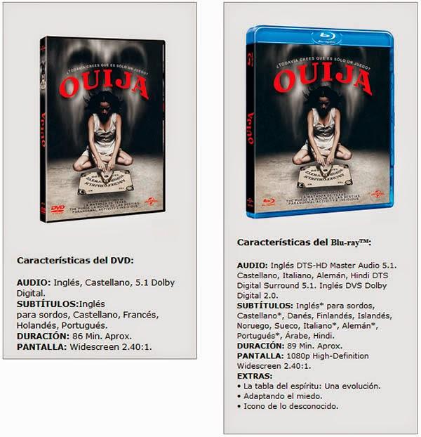 Características Ouija en DVD y Blu-ray