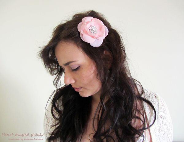 bridal hair accessory flower pink