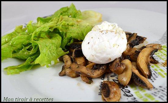 champignons rotis oeuf poché