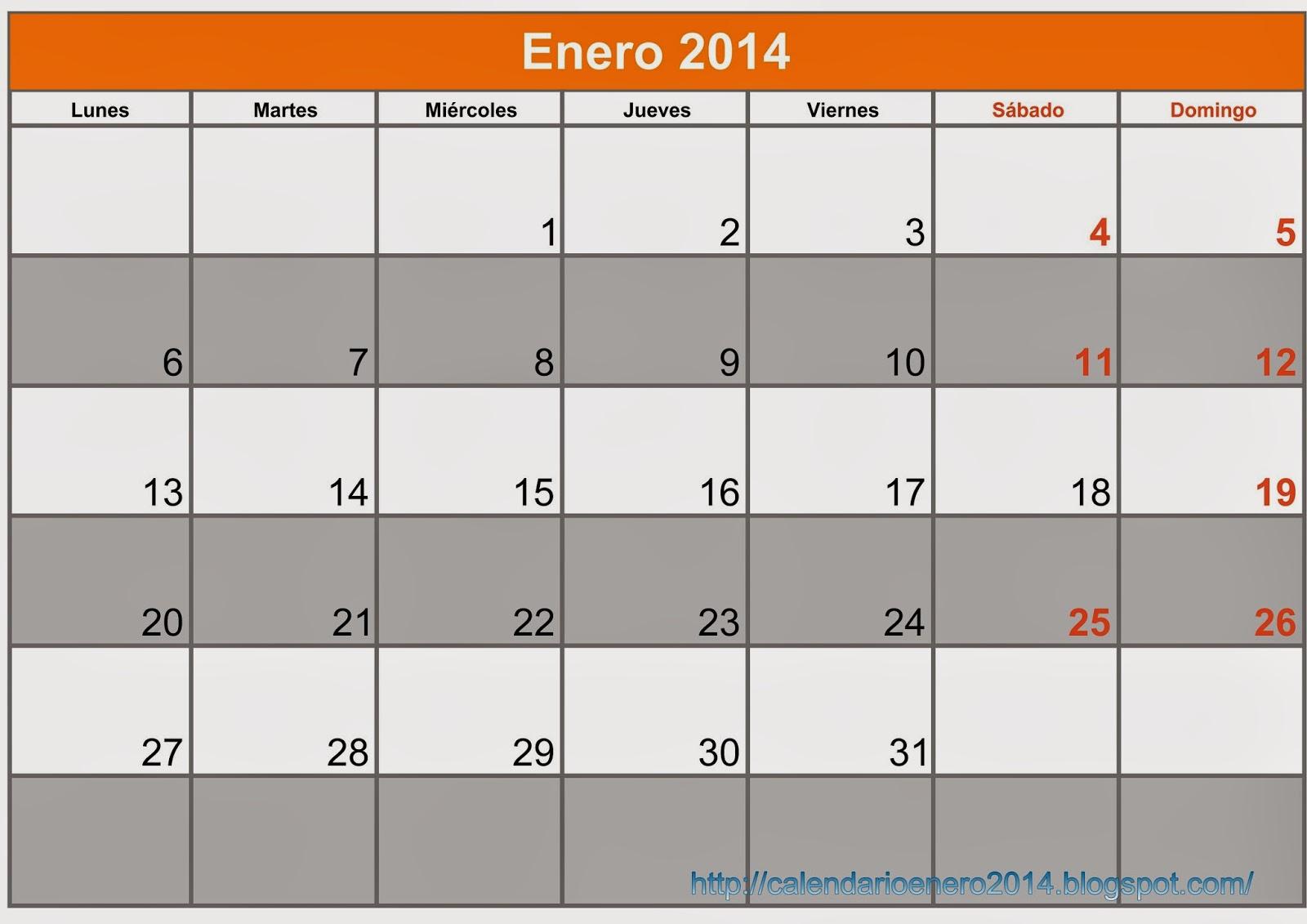 Enero 2014 para imprimir Word - Calendario Para Imprimir Enero 2014 ...