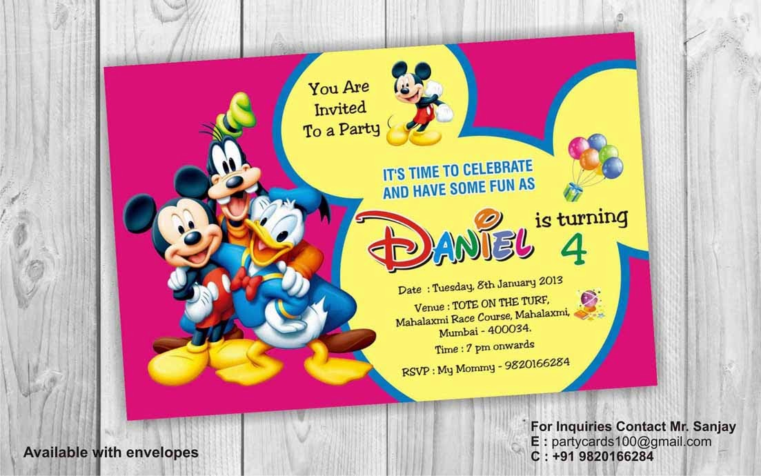 mickey mouse personalised invitations