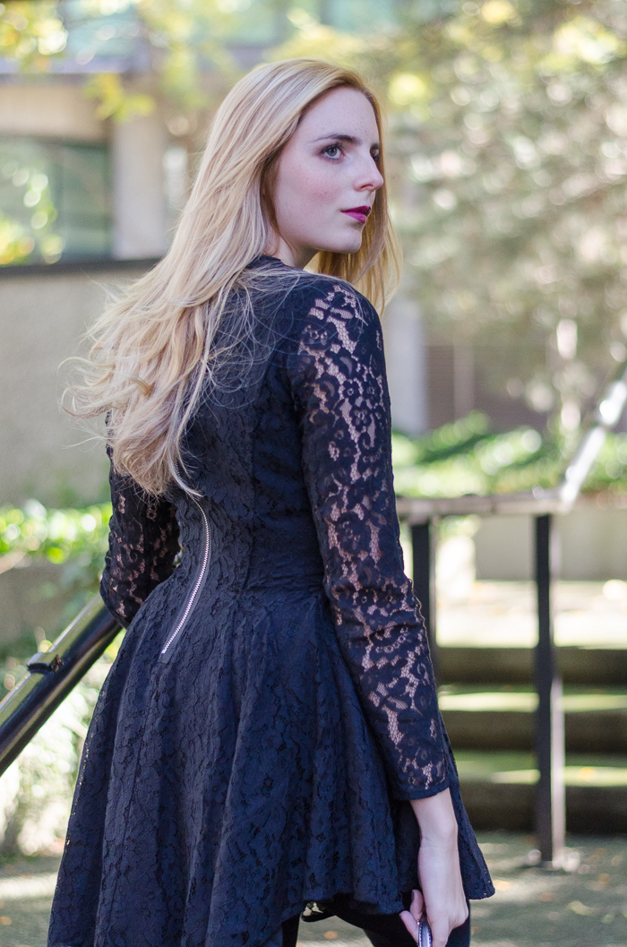 Black lace dress with sleeves h&m home