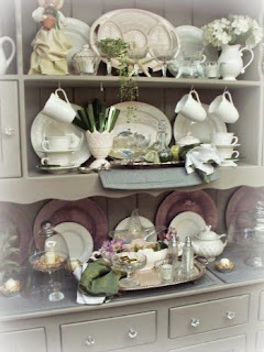 Farmhouse hutch decorated for spring