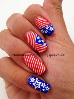 usa flag nail art