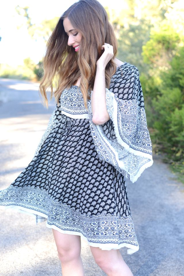 bohemian bell sleeve dress, M Loves M